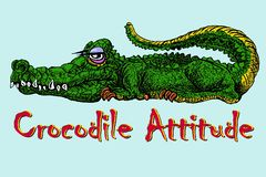 Lazy crocodile attitude. Hand drawn funny green and yellow crocodile on blue background vector illustration