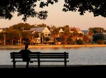 Lazy Days. Man rests alongside Colonial Lake, Charleston South Carolina Royalty Free Stock Photos