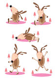 Lazy Deer Set_eps. Illustration of character lazy deer with Christmas tree on white background set Stock Photography