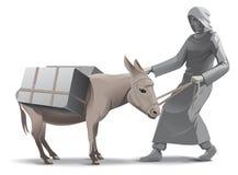Lazy donkey illustration royalty free stock photo