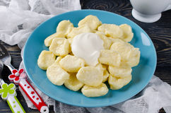 Lazy dumplings of cottage cheese with sour cream Stock Photos
