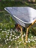 Lazy Gardener�s Wheelbarrow. Wheelbarrow in high, green grass. Not used for a long time Stock Photos