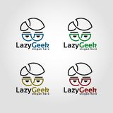 Lazy Geek - Line Art Style Nerd Logo.  stock illustration
