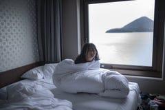 Lazy girl wake on morning royalty free stock image
