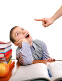 Lazy Kid doing Homework. Parent threatening a Lazy Son for a Learning on the white background royalty free stock photo