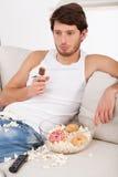 Lazy Man con las invitaciones malsanas Fotos de archivo