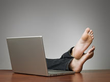 Lazy man at the office Royalty Free Stock Photo