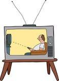 Lazy Man que ve la TV Imagenes de archivo