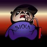 Lazy man. sloth. vector colorful illustration with gradients vector illustration