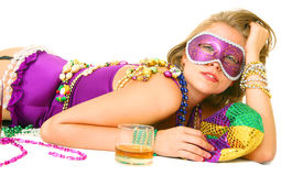 Lazy Mardi Gras Queen Royalty Free Stock Photos