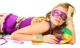 Lazy Mardi Gras Queen Royalty Free Stock Photos
