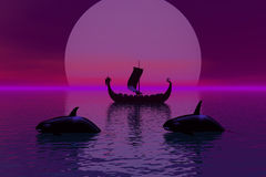 Lazy Moon. Computer generated scene of a moon rise with a sailing vessel and two Orca Whales Royalty Free Stock Photo