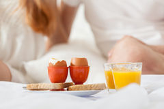 Lazy morning. Breakfast in bed on a lazy sunday morning Stock Images