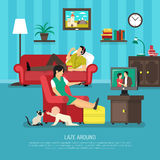 Lazy People Illustration Stock Images