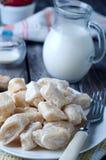 Lazy pierogi. cottage cheese dumplings with sour cream Stock Image
