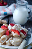 Lazy pierogi. cottage cheese dumplings with sour cream Stock Photos