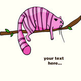 Lazy pink cat laying on the branch Royalty Free Stock Image