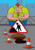 Lazy Road Worker Stock Photography