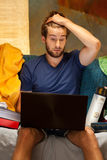 Lazy student during night before exam. Vertical Stock Image