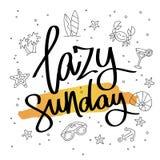 Lazy Sunday. Fashionable calligraphy. Royalty Free Stock Photography
