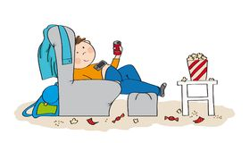 Lazy teenage boy sitting in the armchair, watching TV. Drinking cola and eating popcorn. Mess is all around him. Original hand drawn illustration royalty free illustration