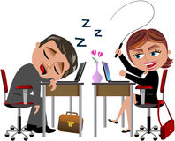 Lazy Worker Sleeping and Angry Colleague. Illustration featuring lazy Bob sleeping on his desk while his colleague Meg really angry trys to wake up him whipping Royalty Free Stock Images