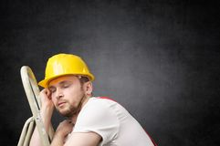 Free Lazy Worker With Ladder Stock Photo - 109274690