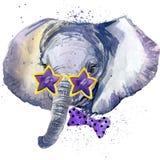 Lbaby-Elefant T-Shirt Grafiken Babyelefantillustration mit Spritzenaquarell maserte Hintergrund ungewöhnliches Illustration wate Stockfotos