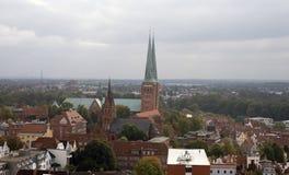 Lübeck-Skyline Stockfoto