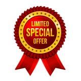 Lbel Beperkte Speciale aanbieding met lintenvector royalty-vrije illustratie