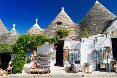 АLBEROBELLO, ITALY - MAY 30, 2015: Traditional trulli houses in Alberobello Stock Image