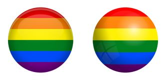 LBGT flag under 3d dome button and on glossy sphere / ball.  stock illustration