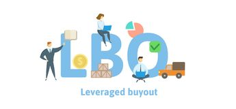 LBO, Leveraged Buyout. Concept with keywords, letters and icons. Flat vector illustration. Isolated on white background. vector illustration