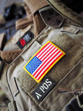 LBT 6094A SLICK Plate Carrier and USA flag patch Stock Photo