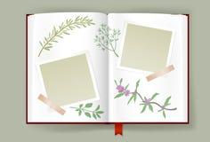 Álbum abierto con los marcos en blanco de la foto y las hierbas aromáticas Fotografía de archivo