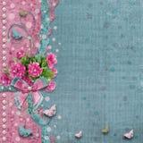 Álbum de foto viejo del vintage con las peonías rosadas hermosas Imágenes de archivo libres de regalías