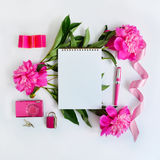 Álbum y flores rosadas Foto de archivo libre de regalías