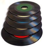 Álbumes de disco de vinilo blancos del vintage 45 RPM del fondo Imagen de archivo libre de regalías