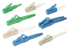 LC fiber optic connectors isolated Stock Photo