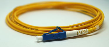 LC fiber optic patch cord. Optical single mode LC patch cord with blue connector Stock Image