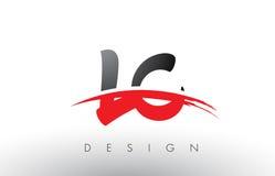 LC L brosse Logo Letters de C avec l'avant de brosse de bruissement de rouge et de noir Image stock