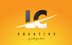LC L C Letter Modern Logo Design with Yellow Background and Swoo. LC L C Letter Modern Logo Design with Swoosh Cutting the Middle Letters and Yellow Background Stock Photo