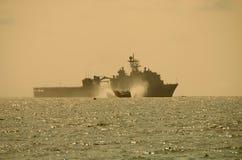 LCAC die slagschip verlaat Stock Foto