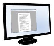 LCD与开放普通的文字处理软件的平面屏幕显示器 库存图片