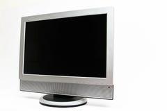 LCD在白色隔绝的平面式屏幕电视 库存照片