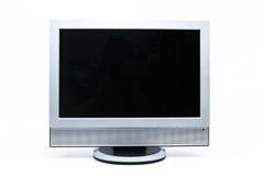 LCD在白色隔绝的平面式屏幕电视 库存图片