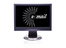 Lcd. E-mail slogan wrote in  LCD monitor Royalty Free Stock Images