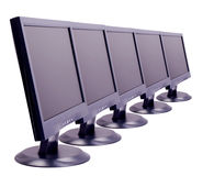 Lcd. Monitors in a row - Isoladed stock images