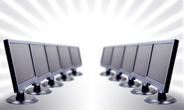 Lcd. Monitors in a row stock image