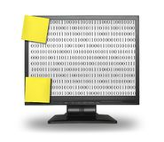 LCD with abstract binary code. LCD display with abstract binary code and wo blank sticky notes, content inside is my property, gentle shadow behind and under LCD Stock Photo